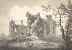 View of the Castle of Laugharn in Caermarthenshire, west Wales